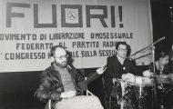Paola Agosti - V Congresso Nazionale del FUORI: al microfono Angelo Pezzana, portavoce del movimento. Roma, aprile 1976