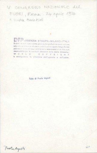 Paola Agosti - Mario Mieli al V Congresso Nazionale del FUORI. Roma, aprile 1976