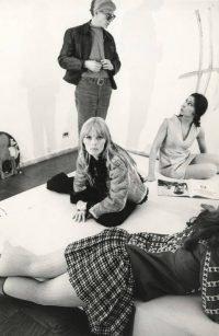Jerry Bauer   Andy Warhol, Nico and Sally Kirkland. New York 1965